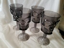 Halloween Black Acrylic Scull Shaped Drinkware Cup Seasonal Decor Set of 4 - $14.95