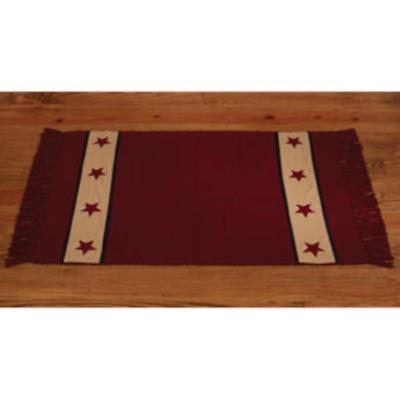 Country house new cranberry BARN STAR rug/ 24 x 42 / nice area rug