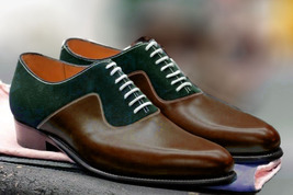 Handcrafted Formal Dress Green Brown Rounded Toe Superior Leather Oxford Shoes - $139.90+
