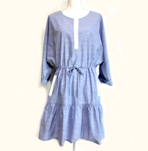 Joie Ecidra Drawstring Waist Chambray Dress NEW Size L Blue Dolman Sleeves - $45.00