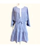 Joie Ecidra Drawstring Waist Chambray Dress NEW Size L Blue Dolman Sleeves - $45.00