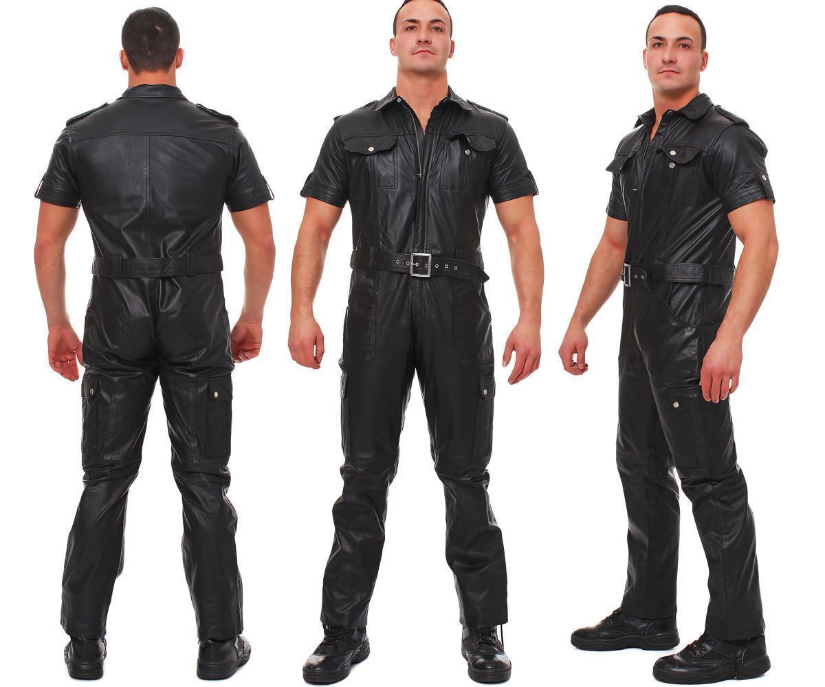MEN PURE LEATHER JUMPSUIT GENUINE LAMBSKIN ALL COLOR TAILOR ROMPER CATSUIT-16