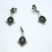 Jet Black Agate Silver Tone Pendant Necklace Earrings Jewelry Set Vintage - $24.74