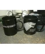 2 Game Of Thrones Black Coffee Mugs 1 House of Stark Wolf GOT - $22.03