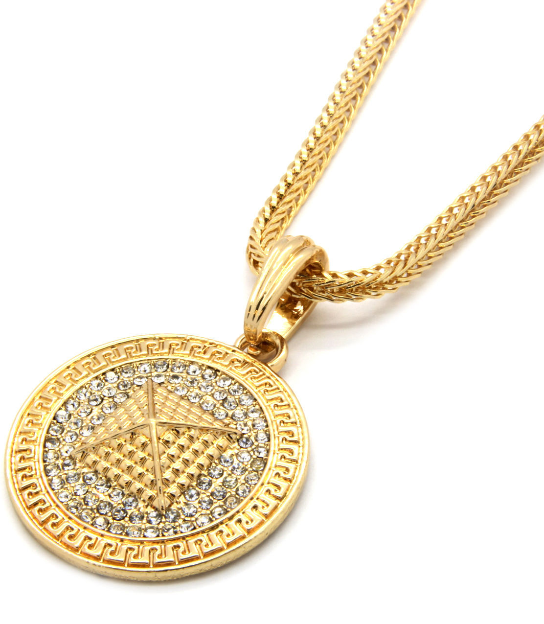"Mens Medallion Pyramid Pattern Gold Clear 24"" Franco Chain Pendant Necklace"