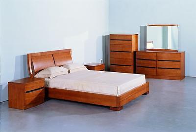BH Maya Queen Size Platform Bedroom Set 2 Night Stands Teak Contemporary Style