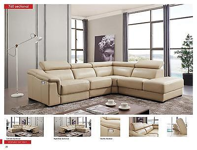 ESF 760 Beige Leather Living Room Sectional Electric Recliner Right Hand Facing