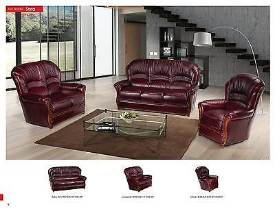 ESF Sara Italian Leather Living Room Sofa Set 2pc. Burgundy Traditional Style