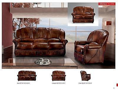 ESF Monica Italian Leather Living Room Sofa Set 3pc. Brown Traditional Style