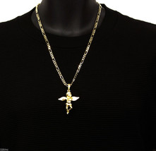 Angel Piece Side Stone Charm Pendant Figaro Chain Necklace Jewelry Gold ... - $13.76