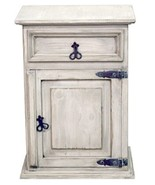 White Wash 1 Drawer 1 Door Nightstand Rustic Western Solid Wood Shabby Chic - $242.54