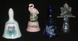 Souvenir Tourist Porcelain Bells 2 Florida, Smoky Mtns, Canada  Lot of 4  - $14.99