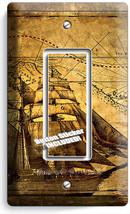 Pirate Ship Treasure Map Single Gfci Light Switch Cover Boys Bedroom Room Decor - $8.09