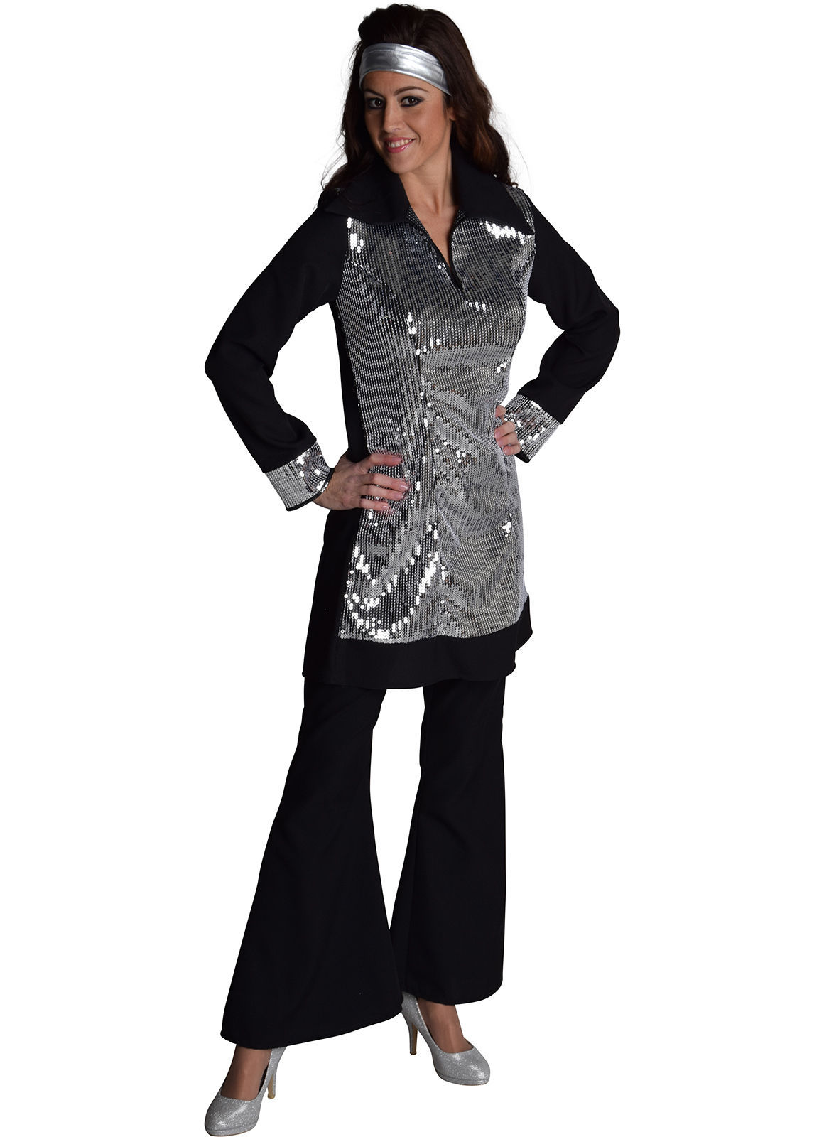 Sequinned 70's Disco - Black / Silver
