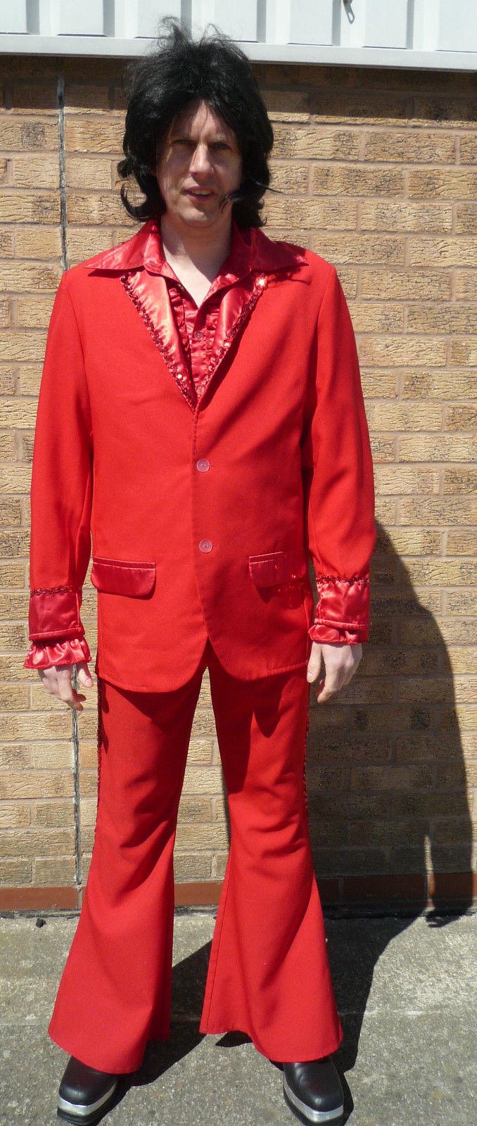 """70's Disco Devil - Red PIMP Suit 44"""" chest"""