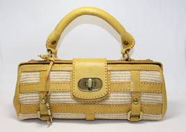Fossil Fifty-Four Yellow Satchel Baguette Purse Bag ZB157C New - $197.01