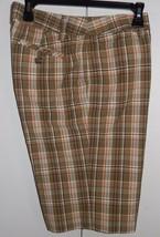 Liz Claiborne Sloane Olive Brown Plaid Bermuda Shorts Size 10 (32 x 11 1/2) - $16.98