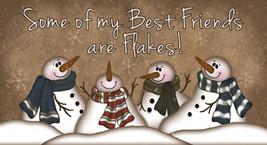 873SBF - Snowmen best friends Wood Block  - $9.95