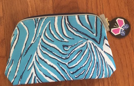 Estee Lauder Blue Zebra Print Cosmetic Bag with Butterfly Pull Tag - $5.99