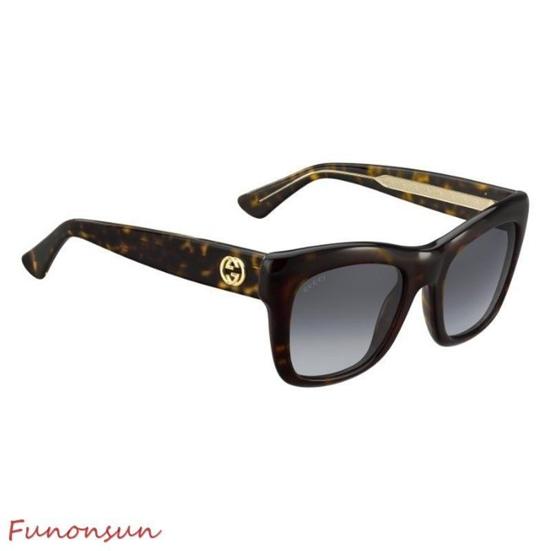0110f9a9ab Gucci Women s Sunglasses GG3827 KCL Dark Havana Grey Gradient Lens  Rectangular - £153.30 GBP
