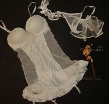 Victoria's Secret 34B garter slip/corset+veil thong+garter BRIDAL white crystal - $89.09