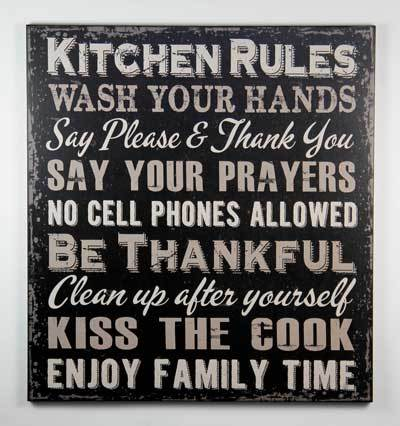 1422 Kitchen Rules Black Sign