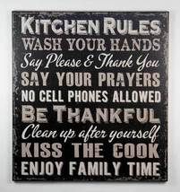 1422 Kitchen Rules Black Sign  - $17.95
