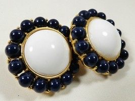Monet Signed Gold tone metal White & dark Blue Large Round clip Earrings  - $23.76