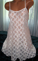Stretch Lace Nightgown Slip Chemise 1X 2X Plus Ivory Lace Short Gown - $16.98