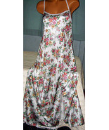 White Floral Print Long Nightgown Criss Cross ... - $23.00