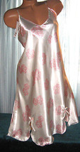 Ivory Pink Floral Chemise Short Gown 1X Plus Size Adjustable straps  - $12.50