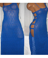 Royal Blue Stretch Lace Long Nightgown L Sexy Open Side - $23.00