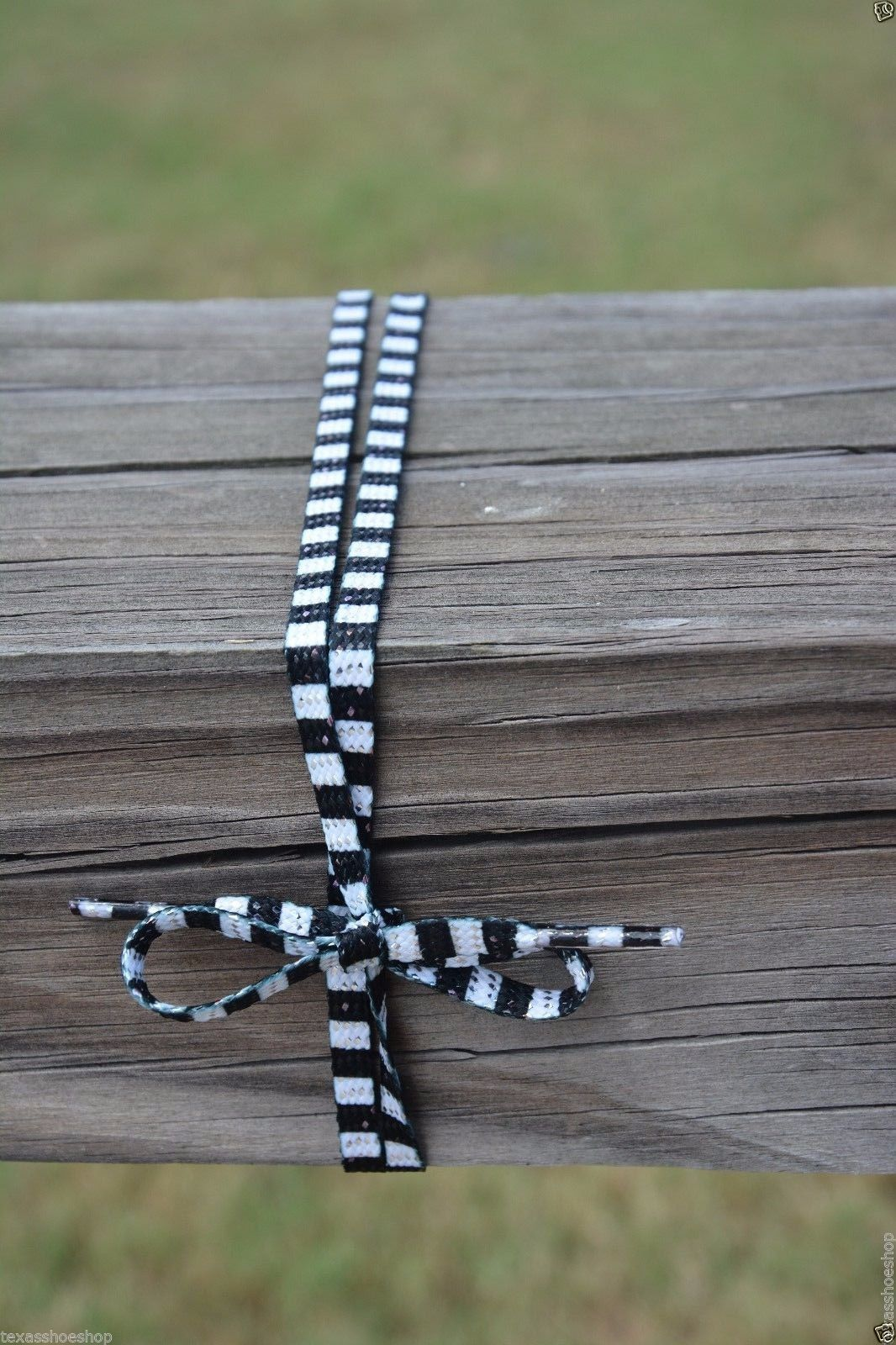 "Black & White Striped Lace ""beetlejuice"" 45"" long enough for 7 Pairs of eyelets"