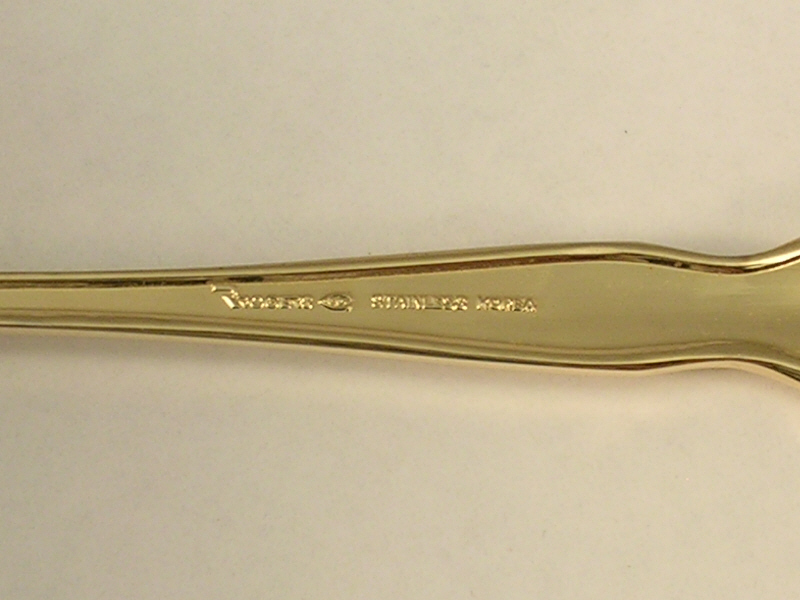 Stanley Roberts Forked Serving Spoon in the Gold Royalty Pattern