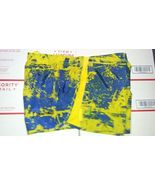 Nike TEMPO Women's Running Shorts Sz M YELLOW BLUE Design - $20.00