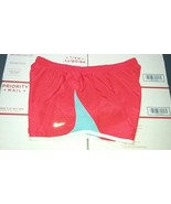 Nike TEMPO Women's Running Shorts Sz L RED BLUE TRIM Design - $20.00