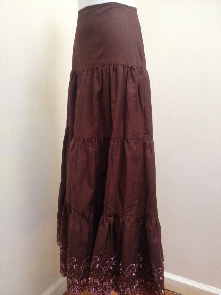 Piace S Skirt Brown Tiered Long A Line Pink Embroidered Border Peasant Boho