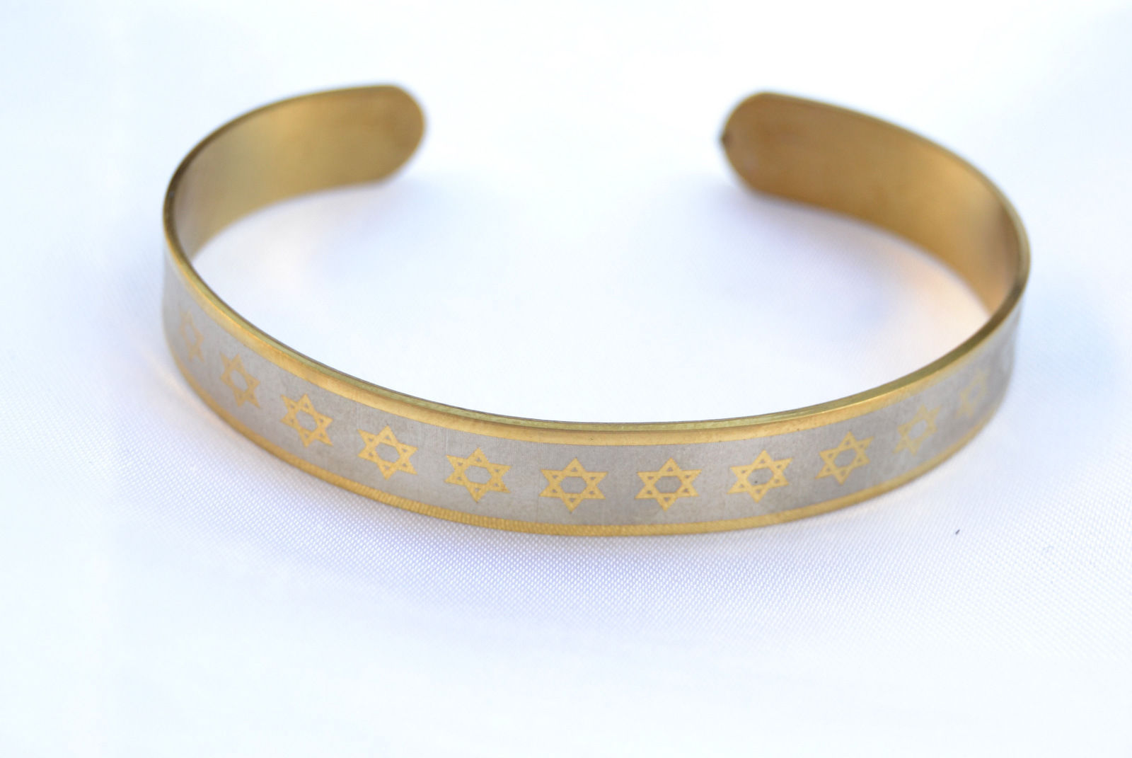 2pc Bracelet Star of David Jewish Wristband Stainless-Silver/gold Color israel
