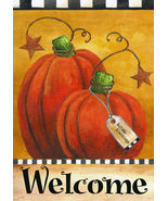 1104 Pumpkin Autumn Welcome Garden Flag - $8.50