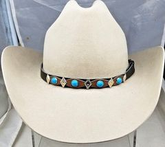 HATBAND Black + Brown with TURQUOISE and Silver DIAMOND CONCHOS Cowboy H... - $14.99