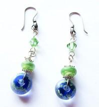 V.L. DESIGNS BLUE & GREEN GLASS & CRYSTAL DANGLE EARRINGS IN STERLING SI... - $14.52