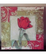 "Painted Rose Art Picture Wall Hanging Flower Red Green Cream Approx. 12""... - $29.69"