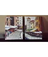 Two Pictures French Street Market Art Wall Hanging Yellow Cream Brown 8 ... - $19.79