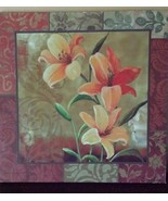 Tulip Flower Orange Peach Picture Art Wall Hanging Cream Yellow Green 12... - $19.79