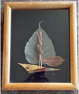 "Picture Feathers Metal and Wood Under Glass Wall Hanging Wood Frame 9"" x... - $14.84"