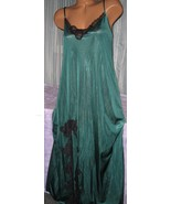 Hunter Green Black Lace Trim Front Slit Long Night Gowns 1X Nylon  - $23.00