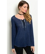 Navy Blue Long Sleeved Lined Lace up Top S M L - $16.64