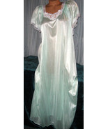 Pale Mint Green Embroidery Nylon Long Nightgown S - £16.75 GBP