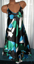 Black Green Blue Abstract Chemise Short Gown 1X 2X 3X Plus Adjustable st... - $12.50