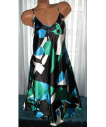 Black Green Blue Abstract Chemise Short Gown 1X Plus Adjustable straps  - $12.50
